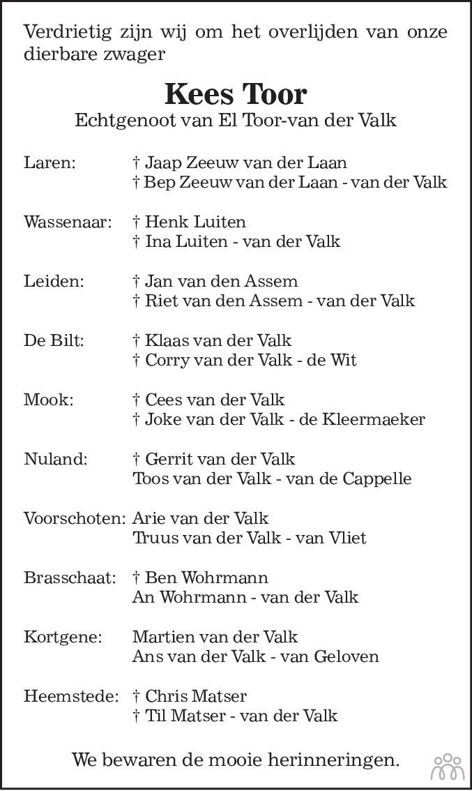 Overlijdensbericht van Cornelis Adrianus Gerardus (Kees) Toor in de Telegraaf