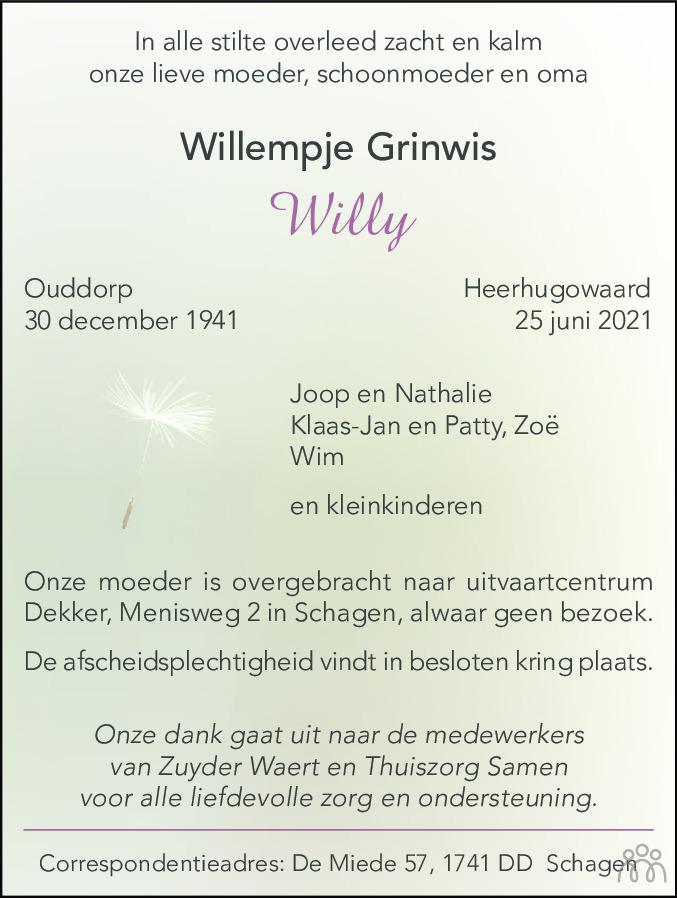 Overlijdensbericht van Willy (Willempje) Grinwis in Schagen / Den Helder