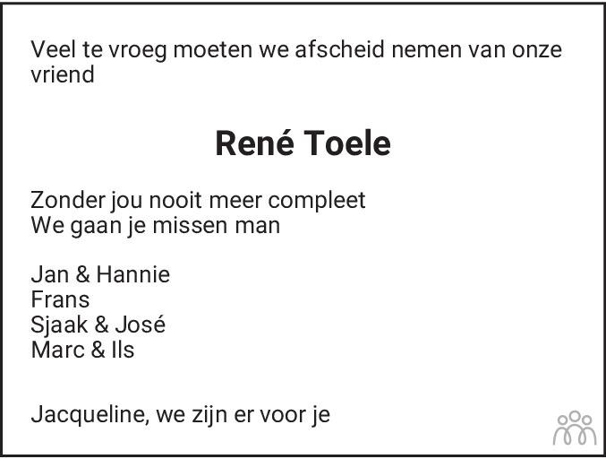 Overlijdensbericht van René (Cornelis Hendricus Johannes) Toele in Haarlems Dagblad Kombinatie