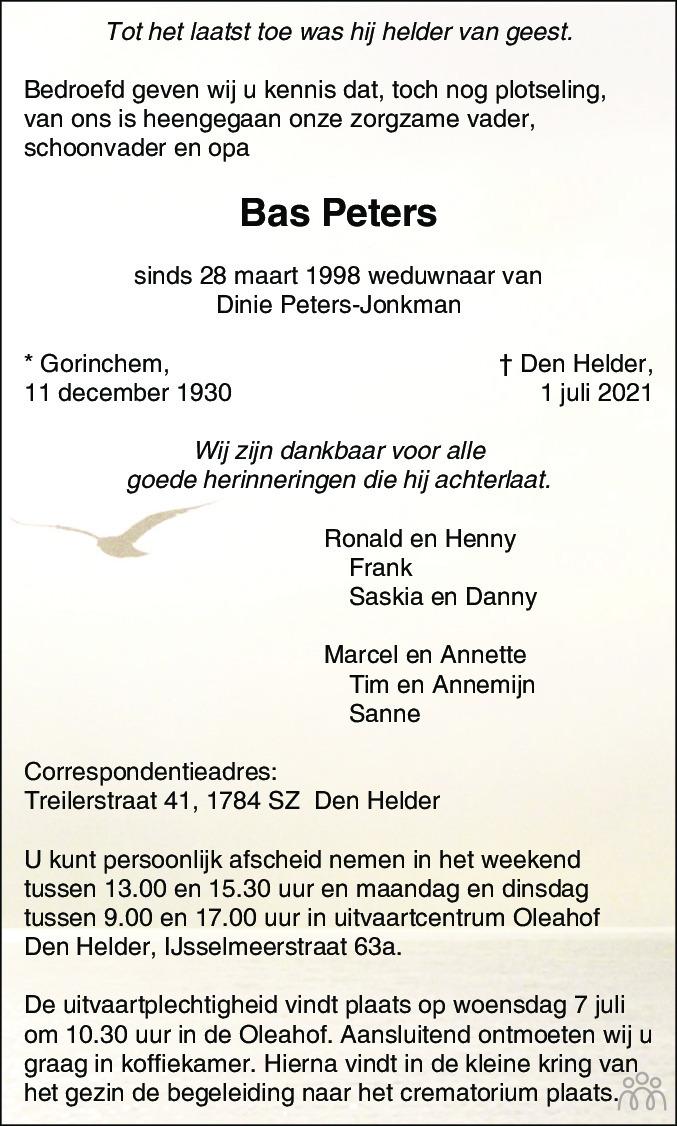 Overlijdensbericht van Bas Peters in Schagen / Den Helder