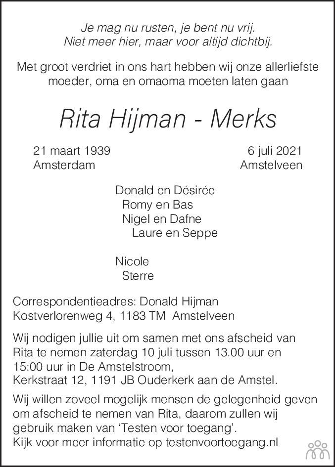 Overlijdensbericht van Rita Hijman-Merks in de Telegraaf