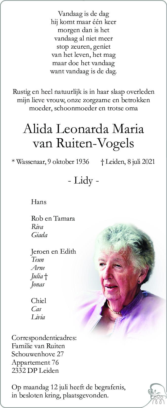 Overlijdensbericht van Alida Leonarda Maria van Ruiten-Vogels in Leidsch Dagblad