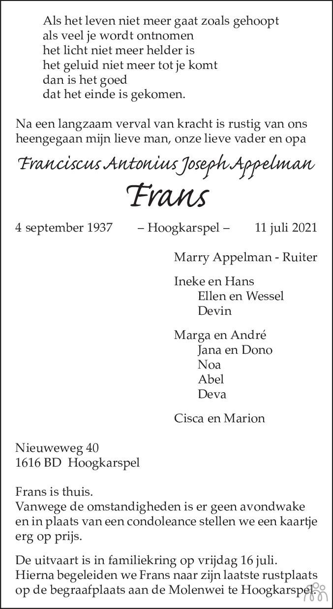 Overlijdensbericht van Franciscus Antonius Joseph (Frans) Appelman in Dagblad voor West-Friesland