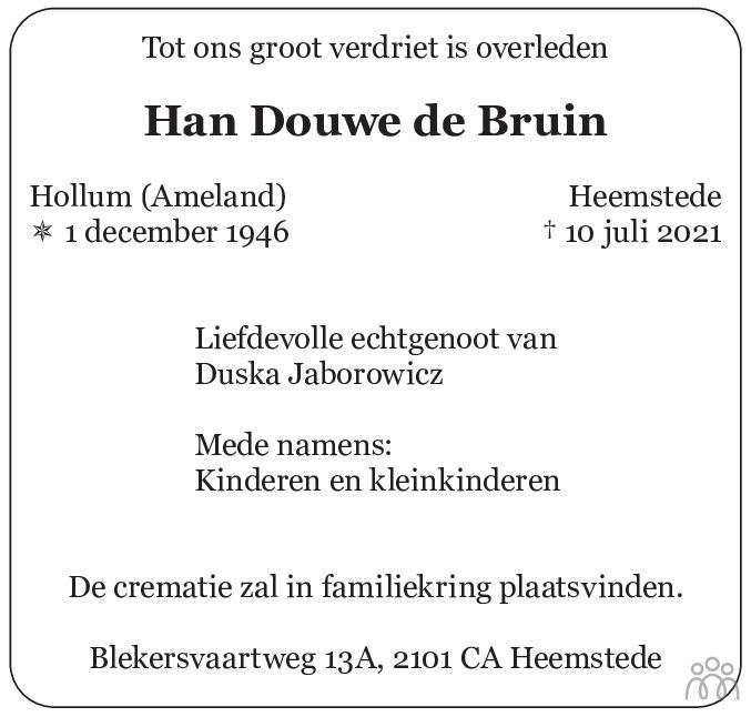 Overlijdensbericht van Han Douwe de Bruin in Haarlems Dagblad Kombinatie