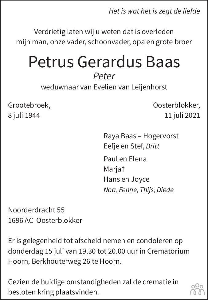 Overlijdensbericht van Petrus Gerardus (Peter) Baas in Dagblad voor West-Friesland