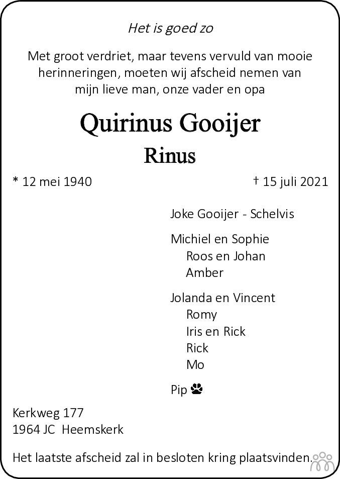 Overlijdensbericht van Quirinus (Rinus) Gooijer in Alkmaarsche Courant