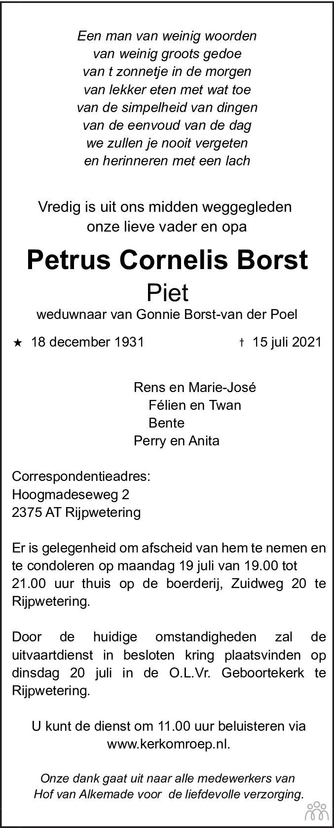 Overlijdensbericht van Petrus Cornelis (Piet) Borst in Leidsch Dagblad