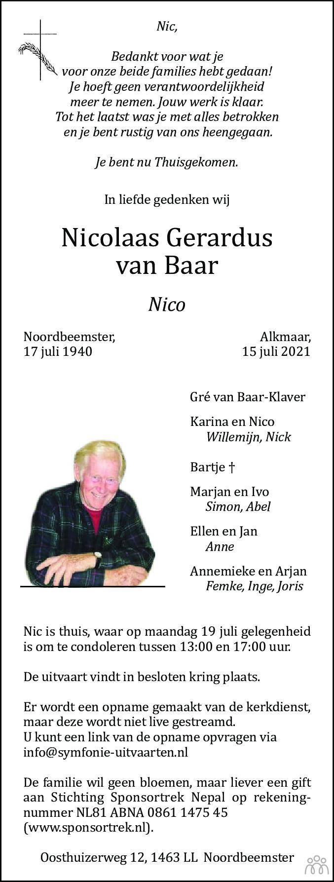 Overlijdensbericht van Nico (Nicolaas Gerardus) van Baar in Dagblad Waterland