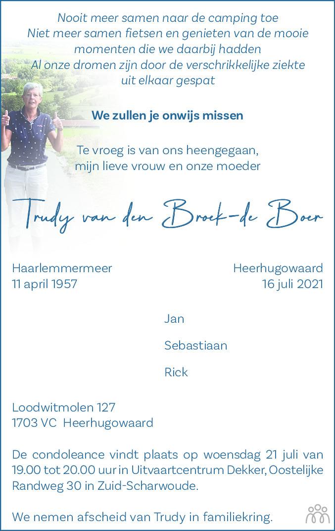 Overlijdensbericht van Trudy van den Broek-de Boer in Alkmaarsche Courant