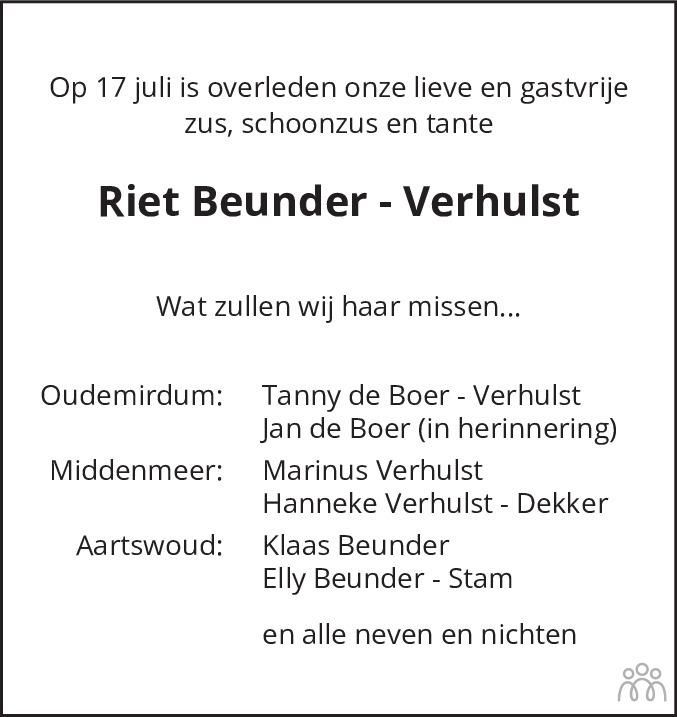 Overlijdensbericht van Riet Beunder-Verhulst in Dagblad voor West-Friesland