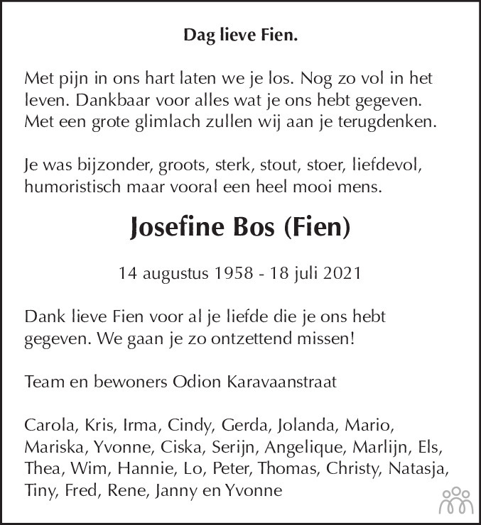 Overlijdensbericht van Josefine Bos (Fien) Bos in Dagblad Waterland