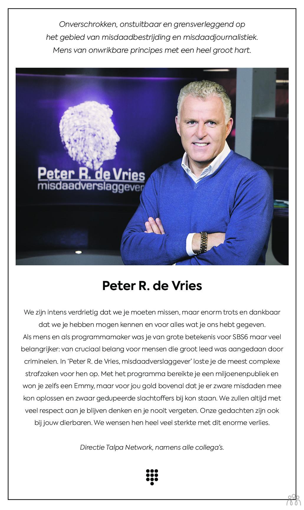 Overlijdensbericht van Peter R. de Vries in de Telegraaf
