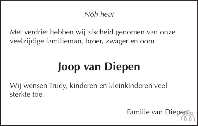 Overlijdensbericht van Joop van Diepen in Dagblad voor West-Friesland