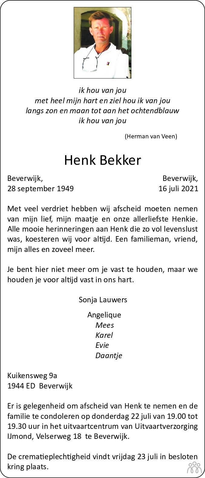 Overlijdensbericht van Henk Bekker in Dagblad Kennemerland