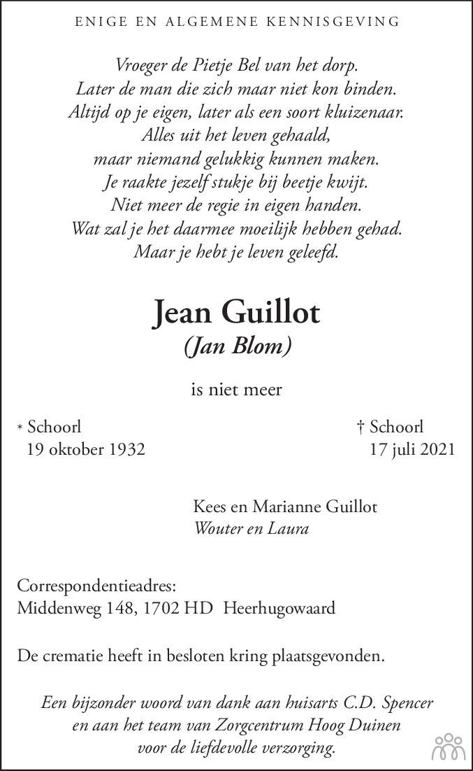 Overlijdensbericht van Jean Guillot in Alkmaarsche Courant