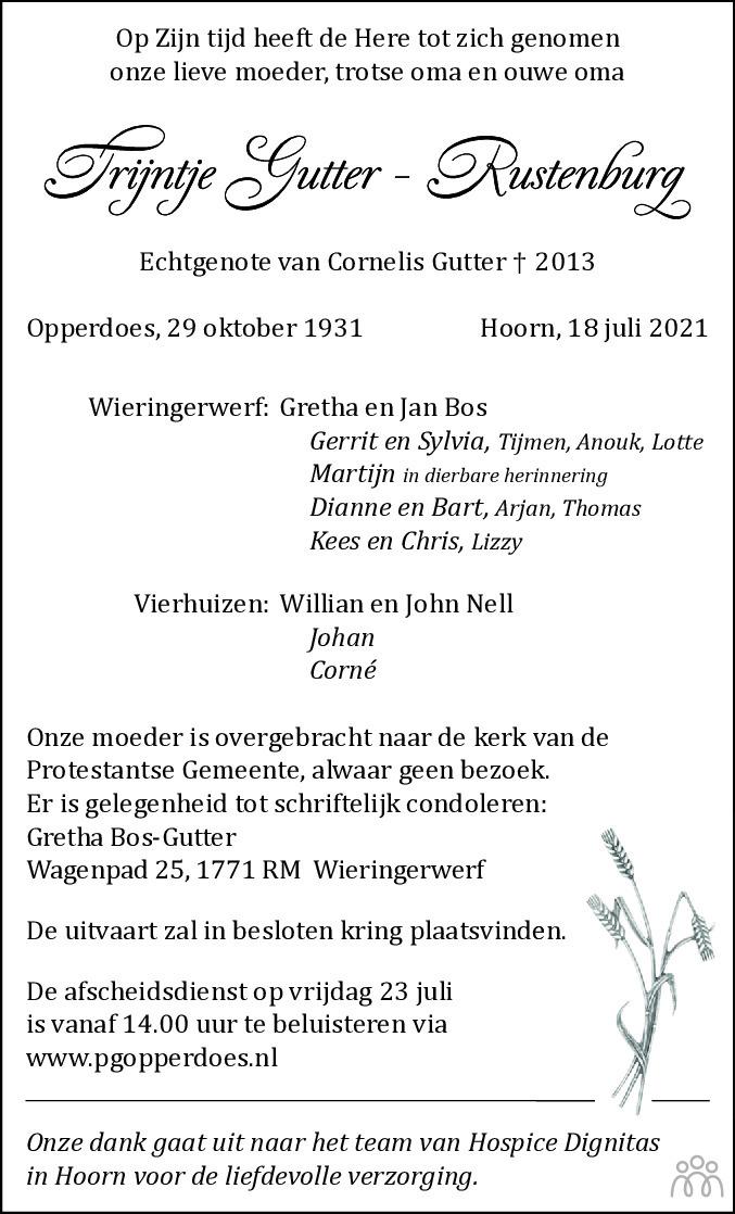 Overlijdensbericht van Trijntje Gutter-Rustenburg in Dagblad voor West-Friesland