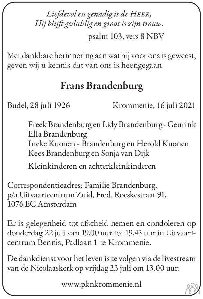Overlijdensbericht van Frans Brandenburg in Dagblad Zaanstreek