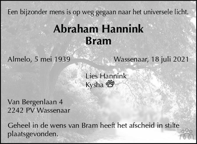 Overlijdensbericht van Abraham (Bram) Hannink in de Telegraaf