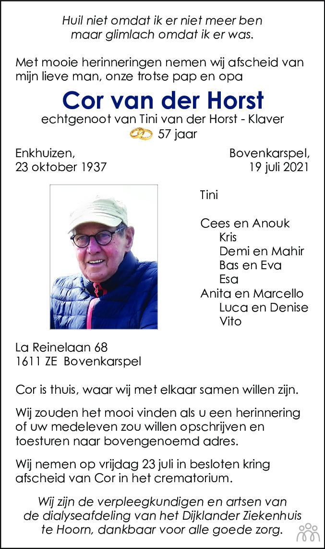 Overlijdensbericht van Cor van der Horst in Dagblad voor West-Friesland