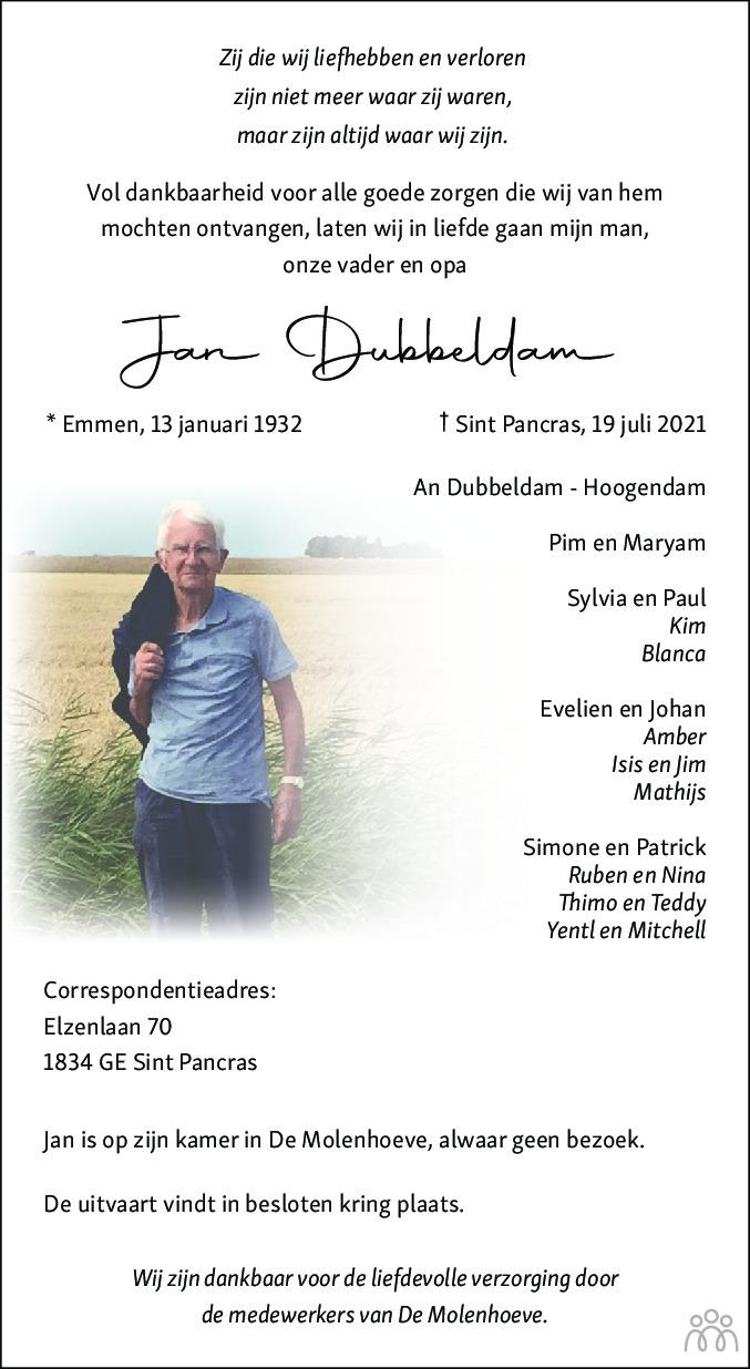 Overlijdensbericht van Jan Dubbeldam in Alkmaarsche Courant