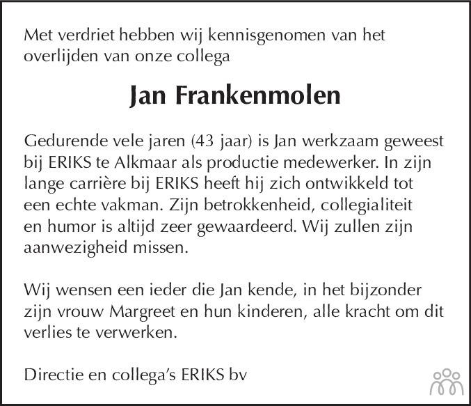 Overlijdensbericht van Johannes Petrus Hendrikus (Jan) Frankenmolen in Alkmaarsche Courant