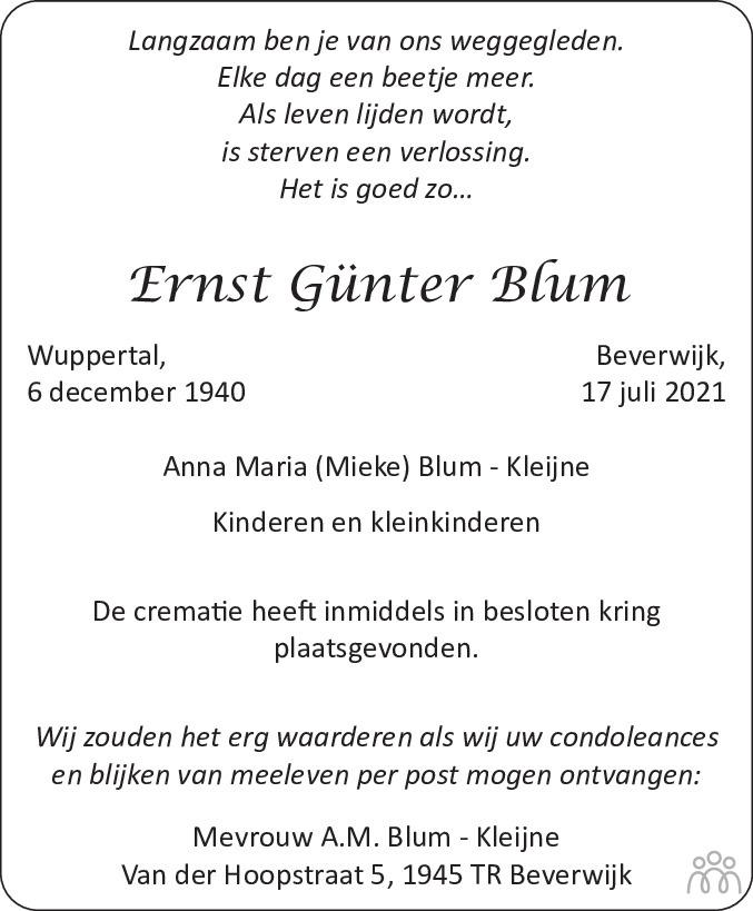 Overlijdensbericht van Ernst Günter Blum in Dagblad Kennemerland