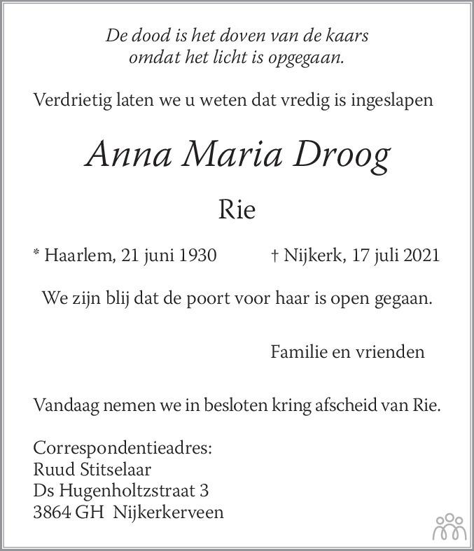 Overlijdensbericht van Anna Maria (Rie) Droog in De Gooi- en Eemlander