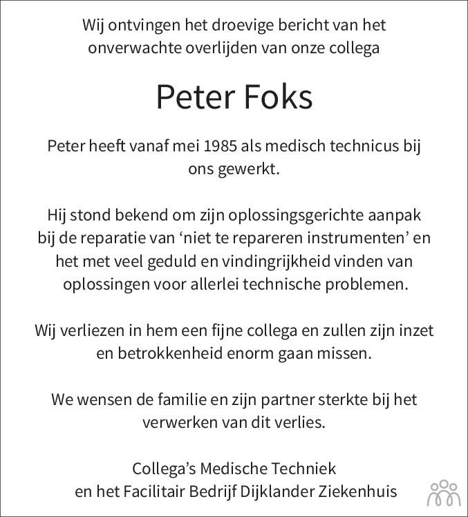 Overlijdensbericht van Peter Foks in Dagblad voor West-Friesland