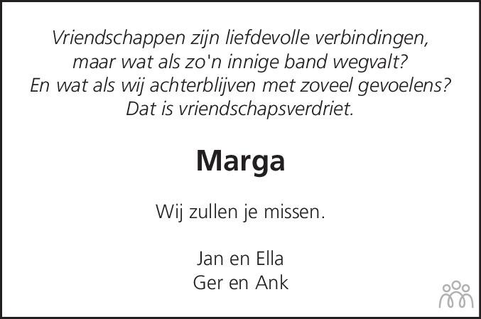 Overlijdensbericht van Marga van den Berg-Hameeteman in Dagblad voor West-Friesland