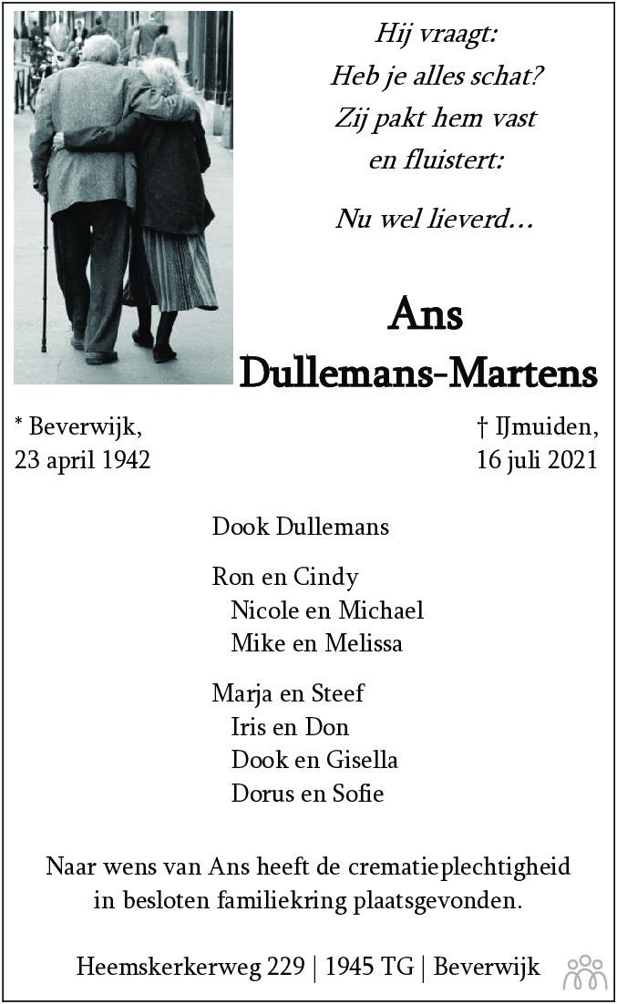 Overlijdensbericht van Ans Dullemans-Martens in Dagblad Kennemerland