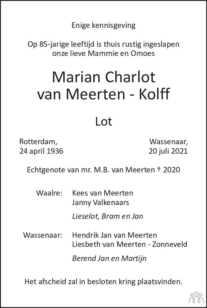 Overlijdensbericht van Marian Charlot (Lot) van Meerten-Kolff in de Telegraaf