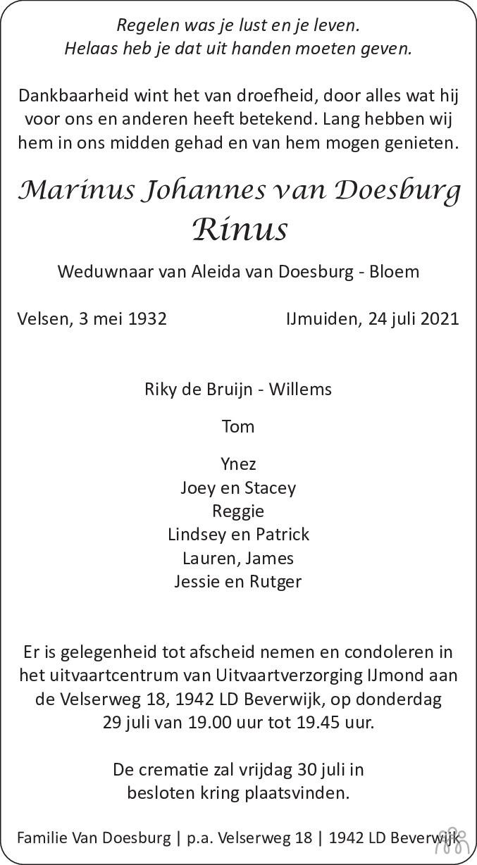 Overlijdensbericht van Marinus Johannes (Rinus) van Doesburg in Dagblad Kennemerland