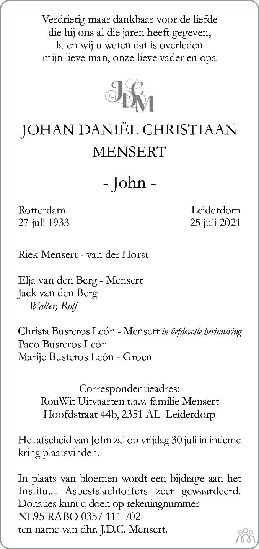 Overlijdensbericht van Johan Daniël Christiaan (John) Mensert in Leidsch Dagblad