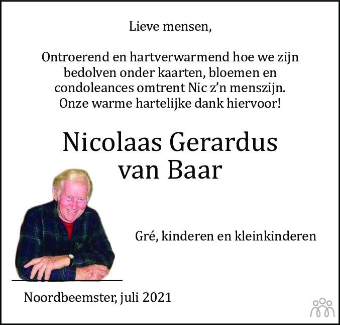 Overlijdensbericht van Nico (Nicolaas Gerardus) van Baar in Alkmaarsche Courant