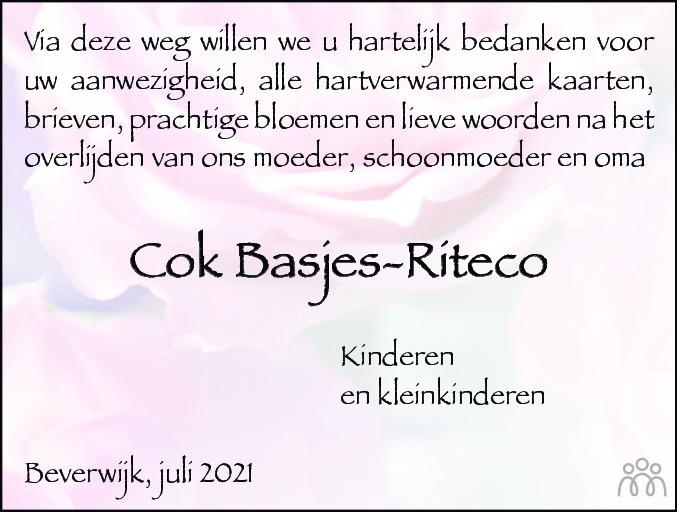 Overlijdensbericht van Cornelia Maria Basjes-Riteco in Haarlems Dagblad Kombinatie