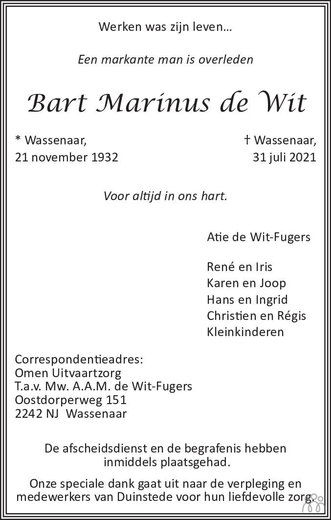 Overlijdensbericht van Bart Marinus de Wit in de Telegraaf