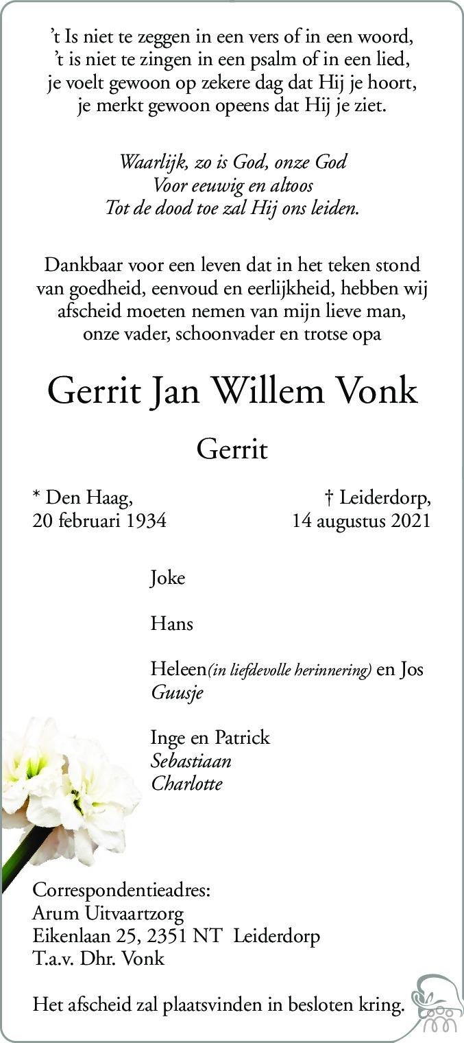 Overlijdensbericht van Gerrit Jan Willem Vonk in Leidsch Dagblad