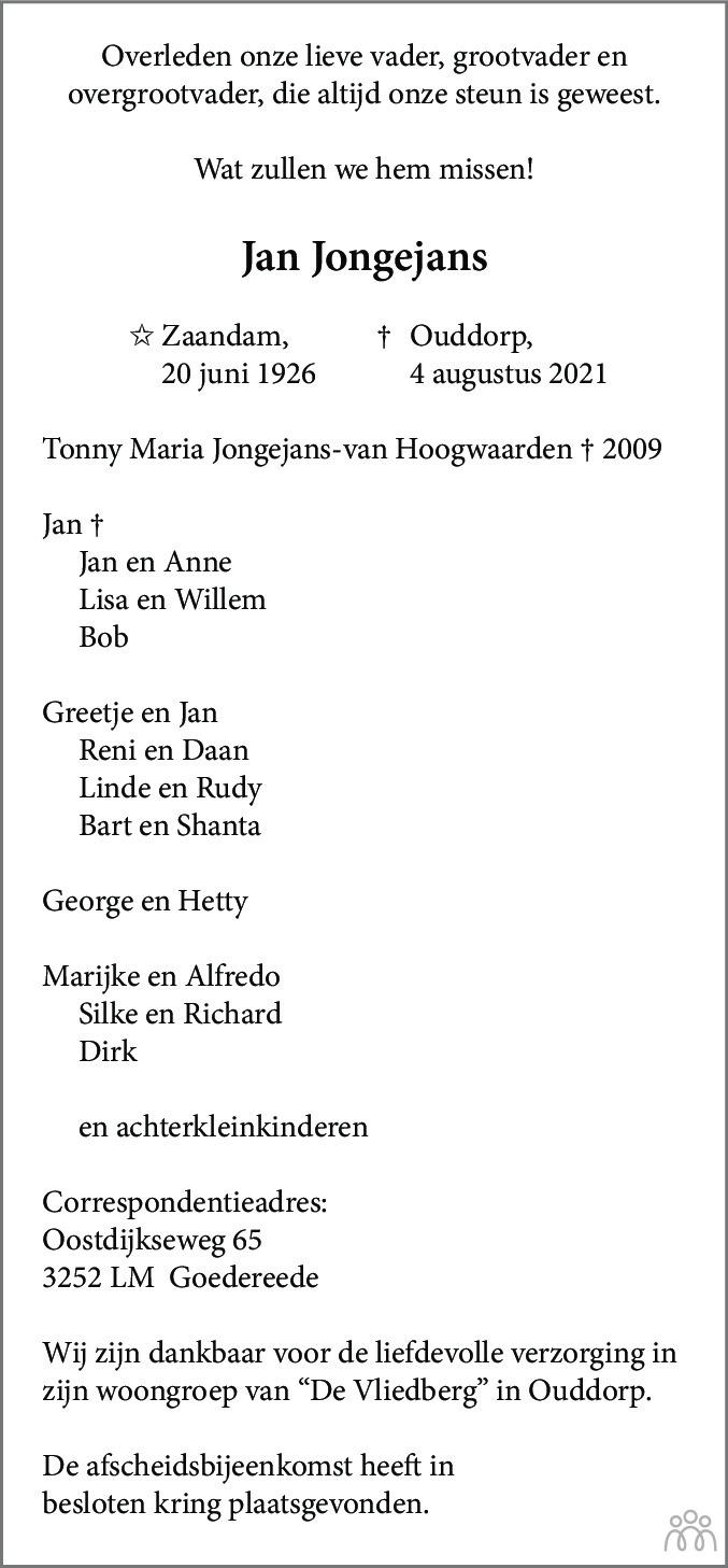 Overlijdensbericht van Jan Jongejans in Dagblad Zaanstreek