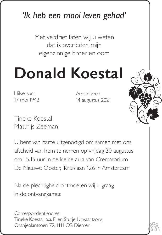 Overlijdensbericht van Donald Koestal in De Gooi- en Eemlander
