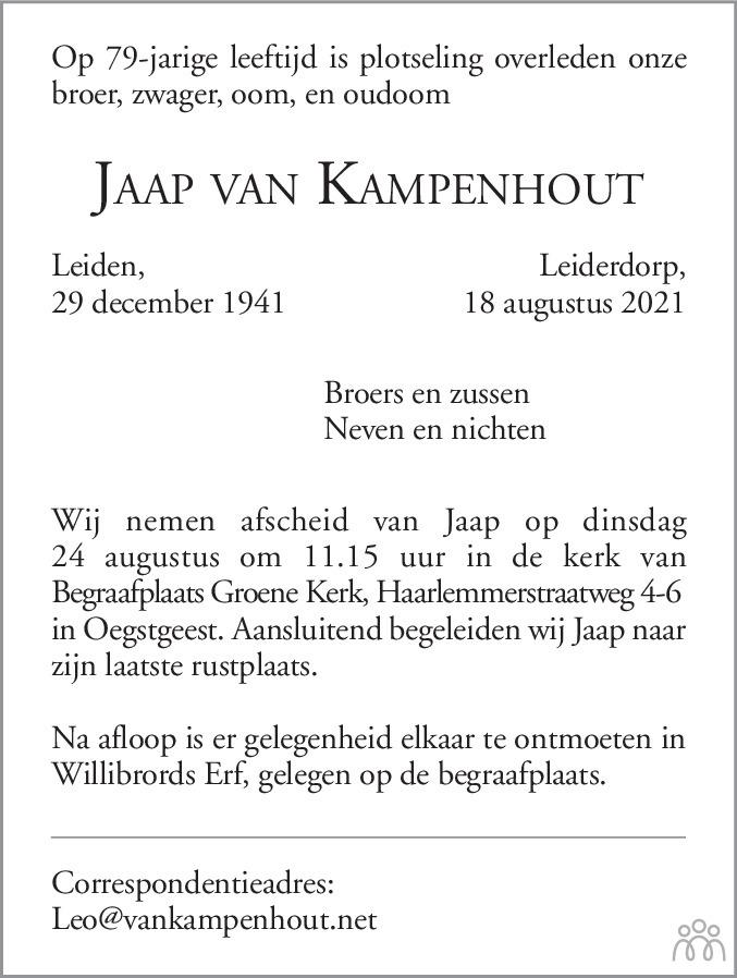Overlijdensbericht van Jaap van Kampenhout in Leidsch Dagblad