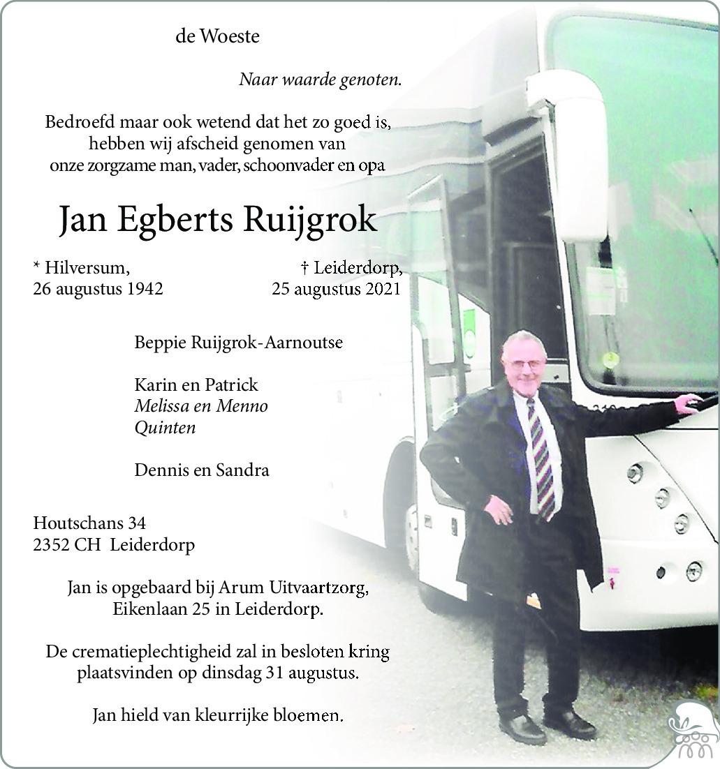 Overlijdensbericht van Jan Egberts Ruijgrok in Leidsch Dagblad