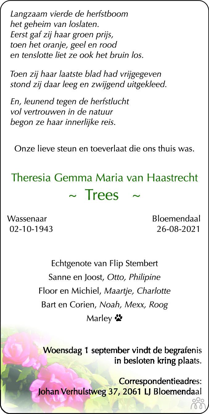 Overlijdensbericht van Theresia Gemma Maria (Trees) van Haastrecht in Haarlems Dagblad Kombinatie