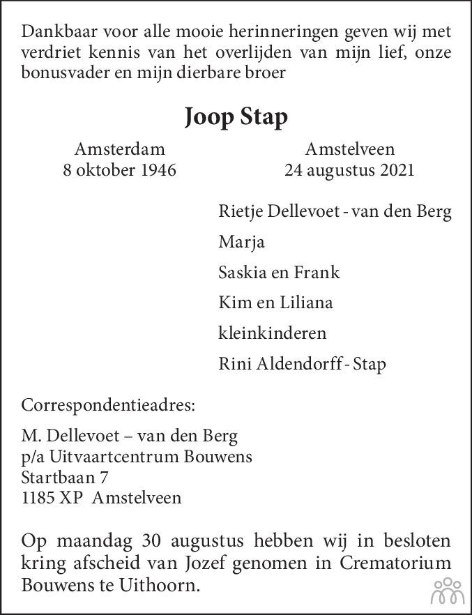 Overlijdensbericht van Joop Stap in de Telegraaf