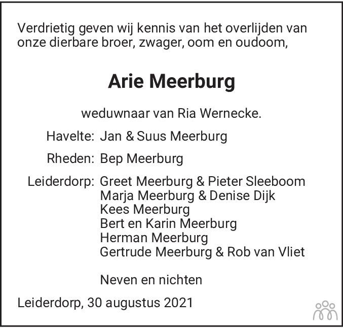 Overlijdensbericht van Arie Herman Meerburg in Leidsch Dagblad