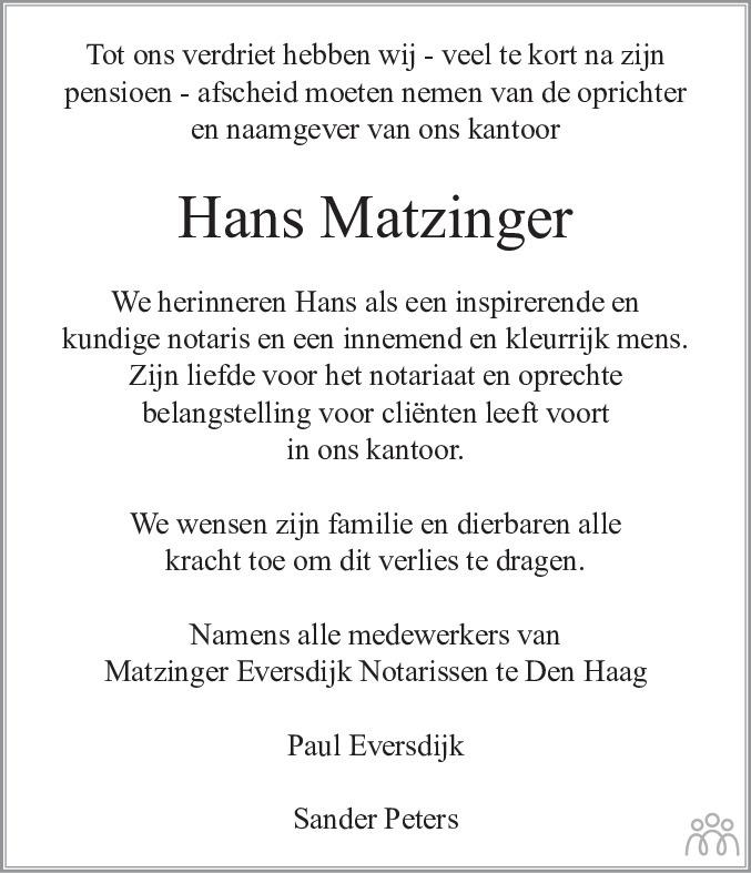 Overlijdensbericht van Hans Matzinger in de Telegraaf