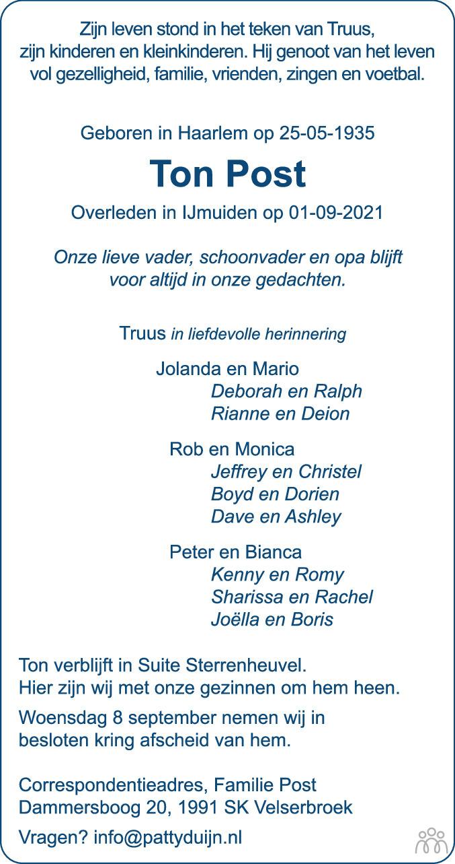 Overlijdensbericht van Ton Post in Haarlems Dagblad Kombinatie