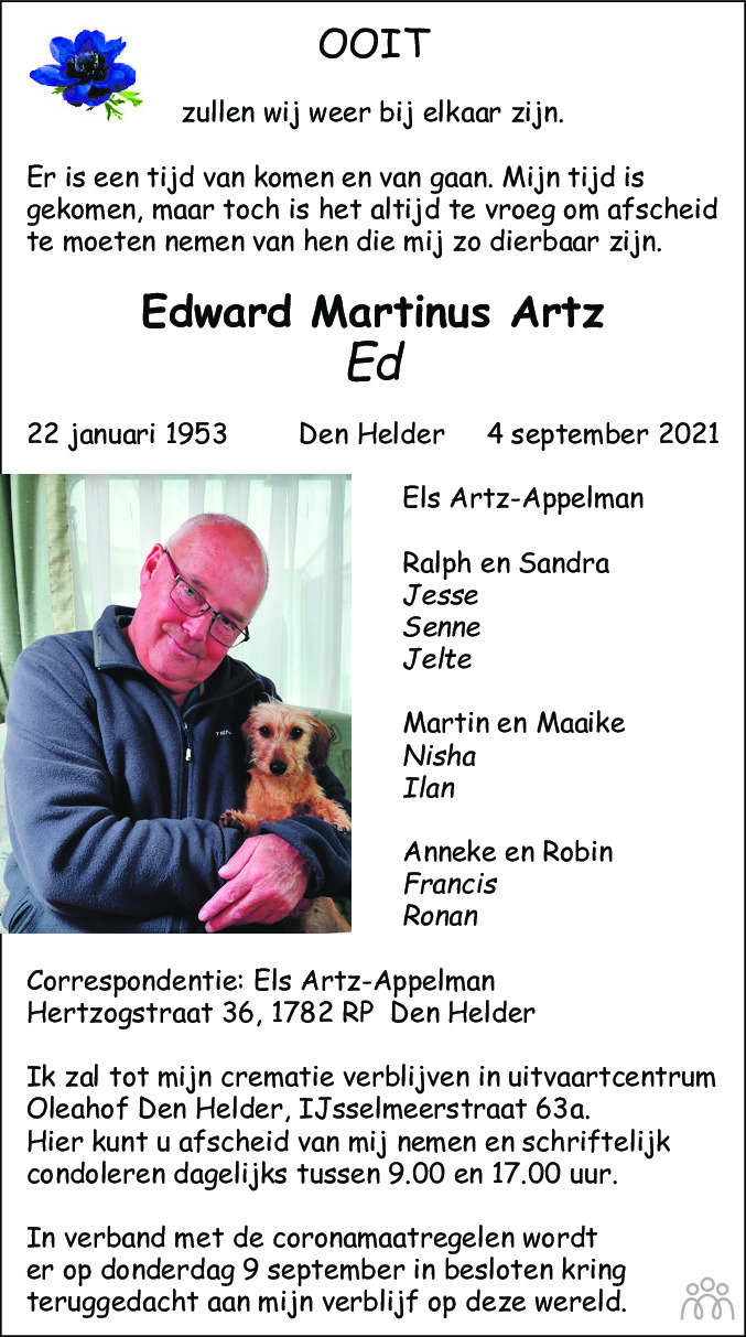 Overlijdensbericht van Edward Martinus (Ed) Artz in Schagen / Den Helder