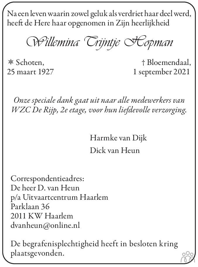 Overlijdensbericht van Willemina Trijntje Hopman in Haarlems Dagblad Kombinatie