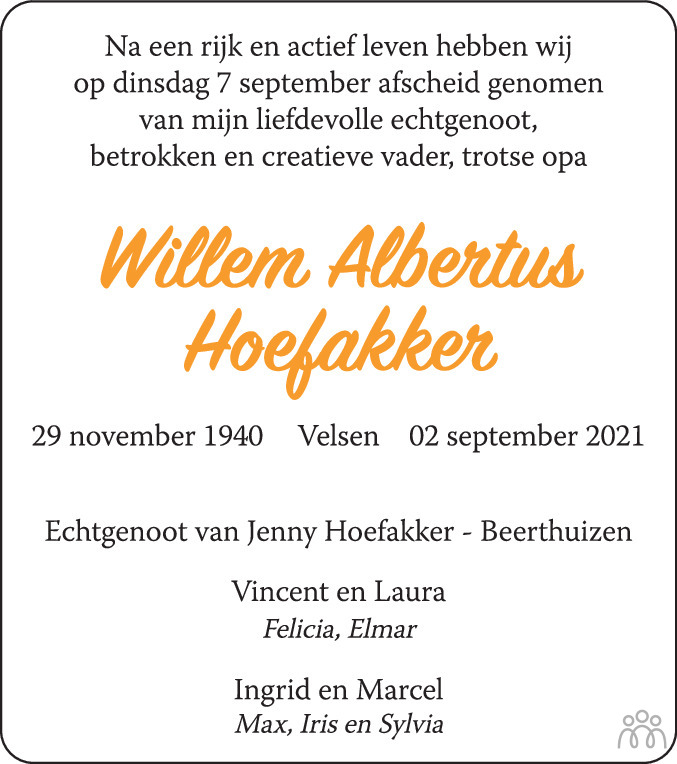 Overlijdensbericht van Willem Albertus Hoefakker in Haarlems Dagblad Kombinatie