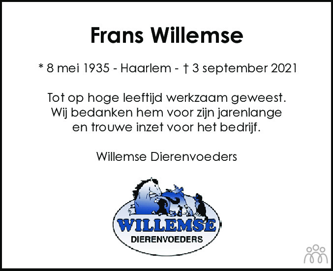 Overlijdensbericht van Franciscus Johannes Jozef (Frans) Willemse in Haarlems Dagblad Kombinatie